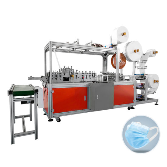 Full Automatic High Speed Wide Elastic Ear Band 3 Ply Flat Disposable Mask Machine with Positioning Function
