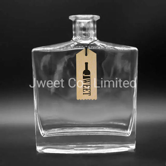 OEM 750ml Square Clear Brandy Glass Bottle for Liquor Spirit