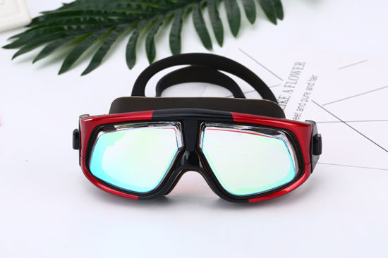 Professional Swim Goggles, No Leaking Adjustable Fit Anti-Fog Waterproof UV Protection Wide View Swim Goggles