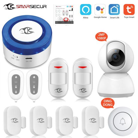 Smarsecur Wi-Fi Tuya Smart Life Alexa Google Home Voice Control WiFi Camera Ifttt Sensor Tuya Alarm System