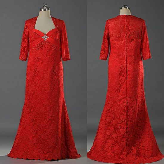 E113 Wholesale Long Red Lace Half Sleeve Plus Size Evening Dresses for Women
