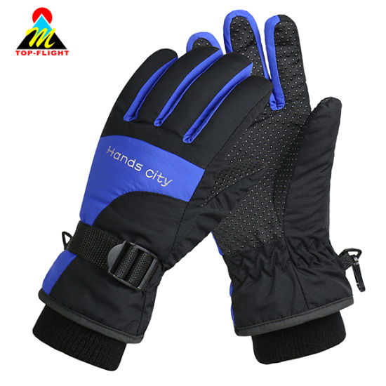 Outdoor Windproof Waterproof Warm Cycling Snowmobile Motorcycle Skiing Gloves with Rib Cuff