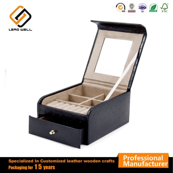 PU Leather Jewelry Box Cosmetic Gift Packing Box with Drawer