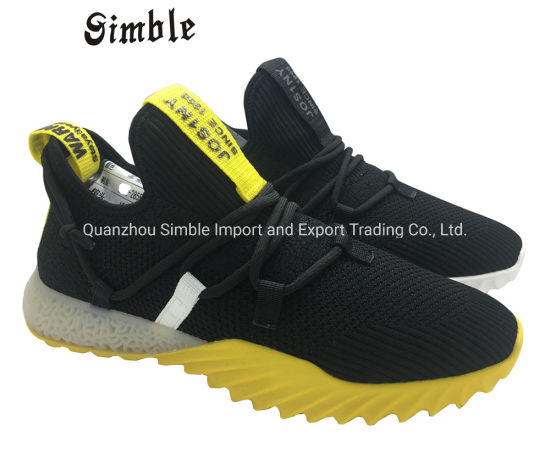 Man Sport Casual Shoes with Breathable Flyknit Upper and Lace