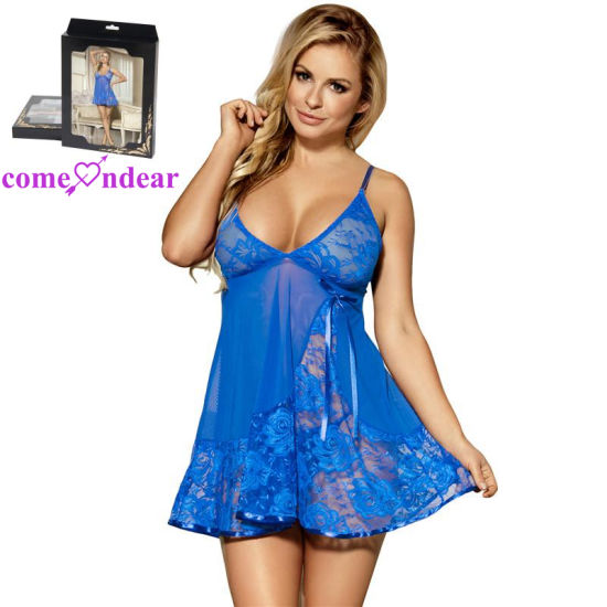 53c7d8aee Large Stock Hot Sale Cheap Paypal Accepted Soft Lace Blue Babydoll with  G-String - China Babydoll