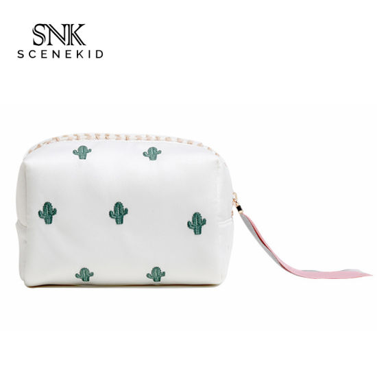 Digital Printed Portable Personalised Basics Square Satin Makeup Bag for Girls, Eco-Friendly Wholesale Cosmetic Bag with Logo Custom