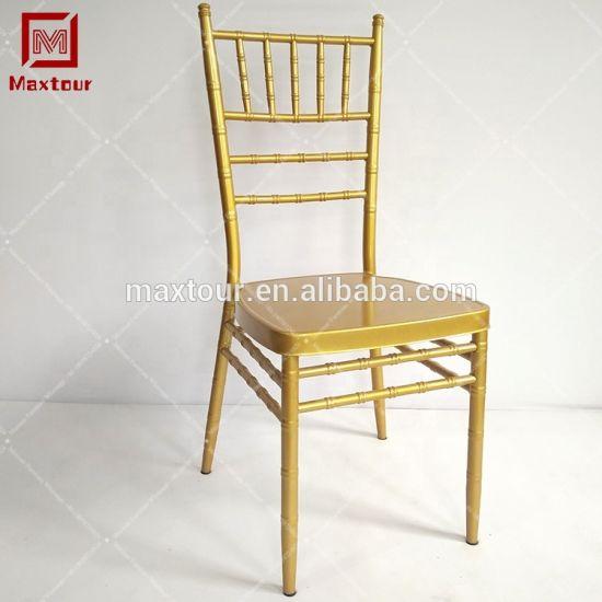 Golden Stacking Banquet Wedding Metal Chiavari Chairs