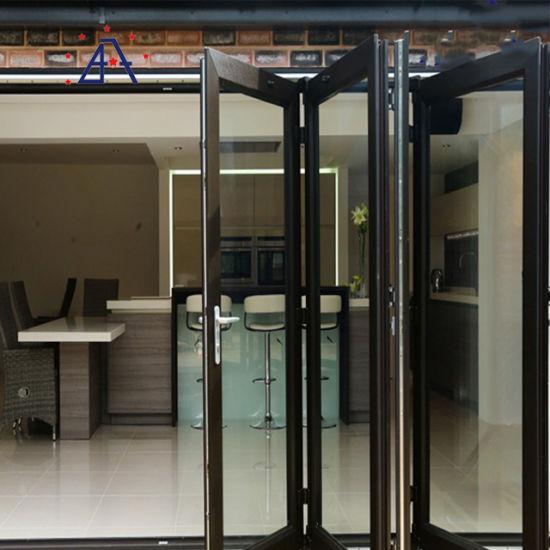 China High Quality Exterior Aluminum Profile Frame Glass Bi Folding Doors For Patio China Folding Door Aluminium Bifold Doors