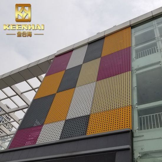 Decorative Design Metal Perforated Curtain Wall Facade (KH-CW-70)