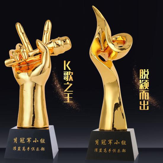 Corporate Business Gold Metal Cup Plated Resin Souvenir Crystal Trophy Souvenir