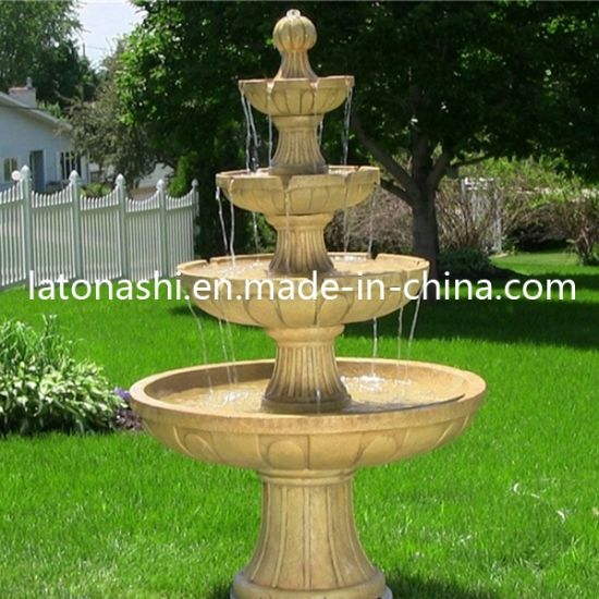 4 Tier Stone Garden Water Fountain For Outdoor Decoration