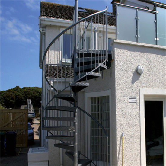 Outdoor Galvanizing Steel Spiral Staircase / Metal Helix Stairs Design