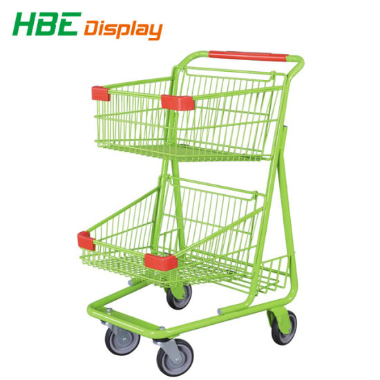 American Style Hand Push Shopping Cart with Two Basket pictures & photos