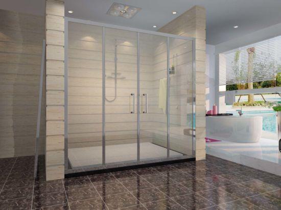 China Stronge Aluminum Tempered Glass Double Sliding Shower Door