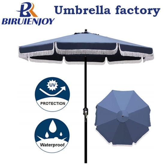 9' Outdoor Patio Umbrella with Fringe, Aluminum Manual Push Button Tilt and Crank Garden Parasol