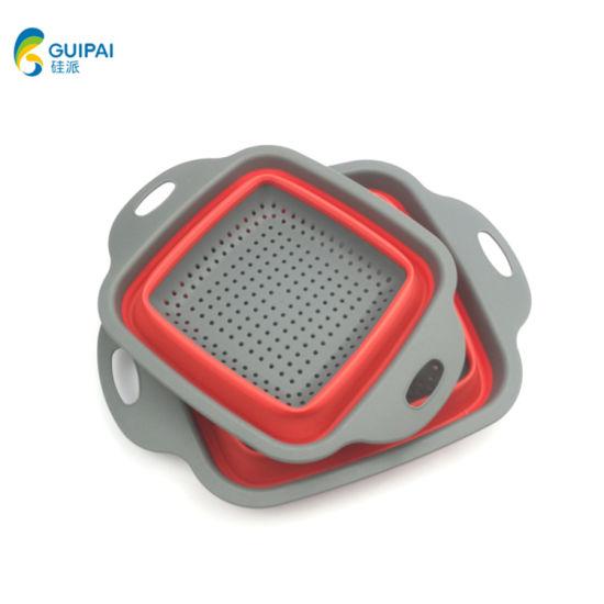 2 Size Wholesale Foldable Adjustable Strong Multi-Function Drain Basket Vegetables/ Folding Drain Basket