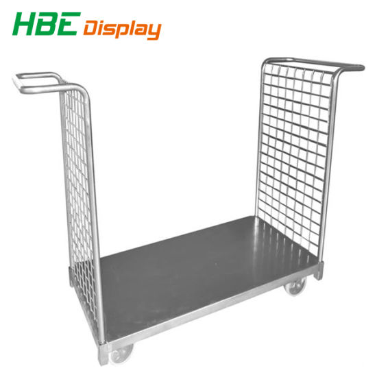 Stainless Steel Collapsible Cargo Luggage Cart with Wire Handle Riser