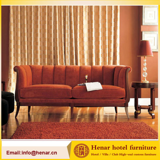China Classical Living Room Furniture Wooden Red Couch Sofa