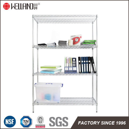 NSF 4 Tiers Heavy Duty 18 Inch Wide Shelving Unit Chome Plated Office  Supplies Storage Steel Wire Shelving Solutions