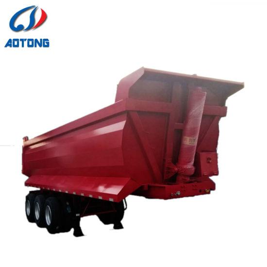 3 Axle Dump Semi Trailer Heavy Duty 45 60 Cubic Meter Tipper Rear U Shape Semi Dump Trailer Truck