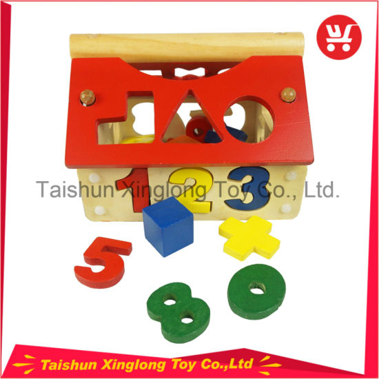 Wooden Blocks Multifunctional House Building Set Number Shape Sense Intellectual Toys for Kids