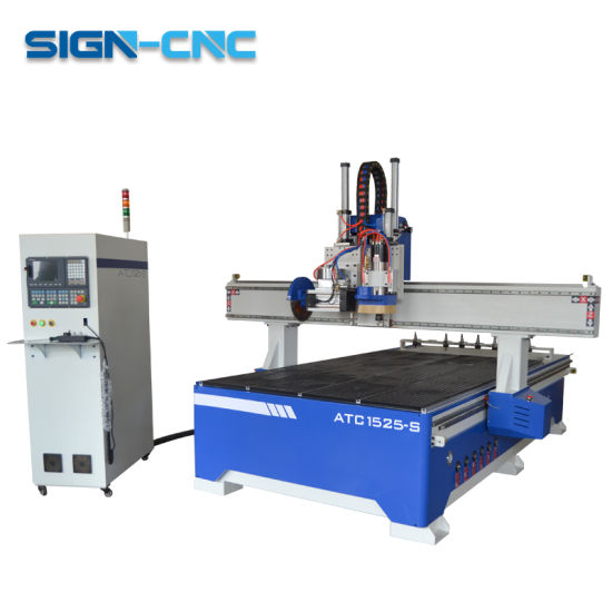 Three-Head Wood Working Machine Pneumatic CNC Router 1325 Multi Heads Pneumatic Furniture Cutting Machine pictures & photos