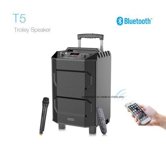 china t5 2018 new arrival trolley portable wireless dj pa speaker bluetooth outdoor home audio. Black Bedroom Furniture Sets. Home Design Ideas