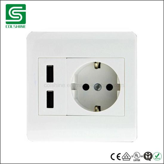 China Europe Type Schuko Electrical Wall Plug Socket with USB ...