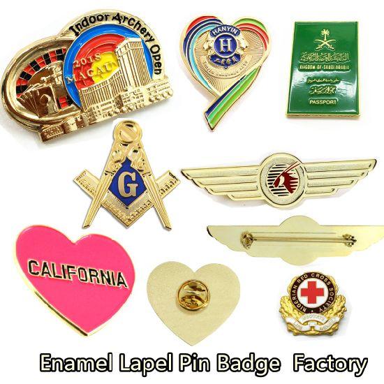 Factory Custom Metal Gold Enamel Lapel Pin Button Badges