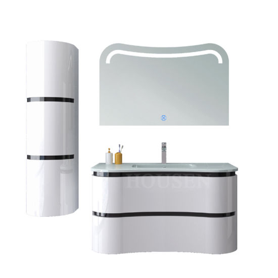 LED Light Top Mirrored Bathroom Vanity Wall Mounted with Side Cabinet