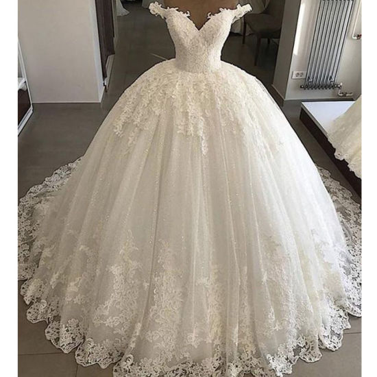 China Lace Wedding Dress Puffy Off Shoulder Bridal Wedding Ball