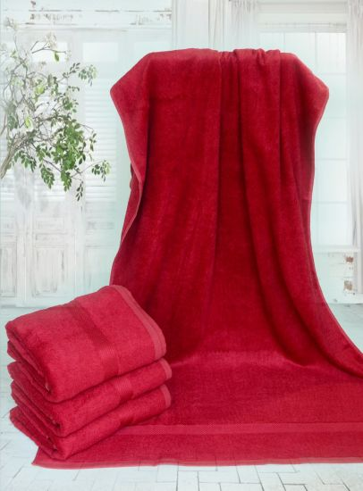 High Quality 100% Natural Bamboo Fiber Bath Towel Red Color pictures & photos