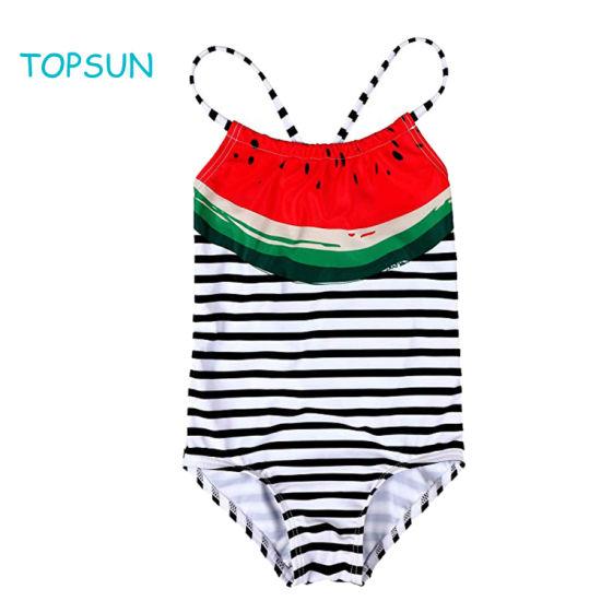 Children Swimsuit 1PC New Sun Protection Quick Drying Big Baby Girl Black and White Stripe Swimwear