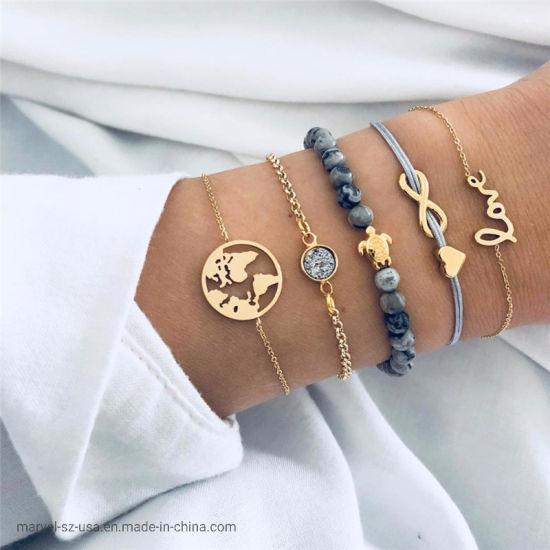 Fashion Jewelry Gifts Turtle Rope Chain Charm Bracelets Sets