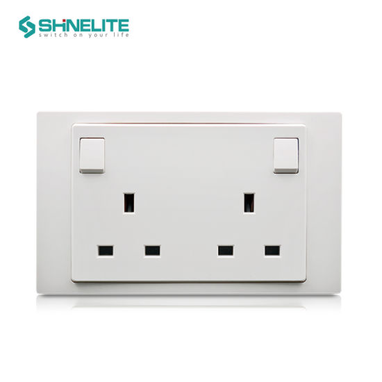 Factory Price 13A 2 Gang Plastic Wall Switch Socket