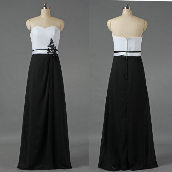Vintage Strapless White and Back Evening Gown Maxi Dress for Women E216 pictures & photos