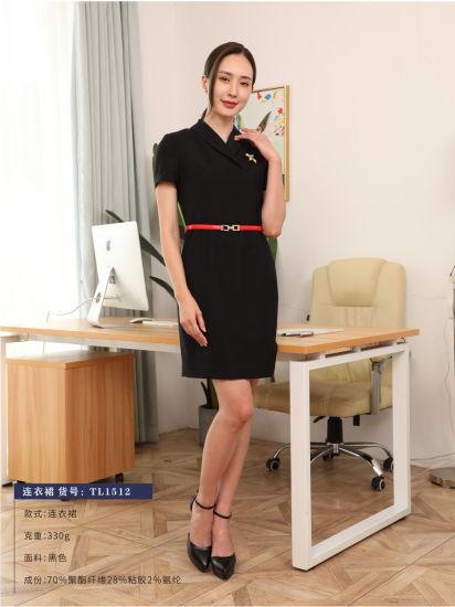 Super Quality High-End Fashion Women's Warp Elastane Slim-Fit Dress