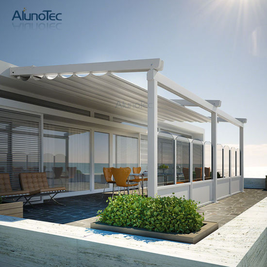 Folding Pergola Waterproof Retractable Awning with Operable Louvers