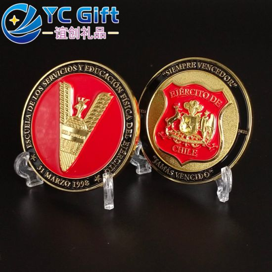 Cheap Custom Zinc Alloy Plated Gold Expoy Souvenir Coins Chile Army Military Challenge Coin in China Factory