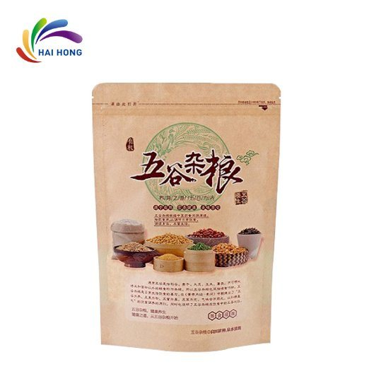 Bio-Degradable Kraft Paper Bag Stand up with Ziplock for Food Packaging pictures & photos