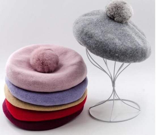 Wool Material with Rabbit POM POM Ball Beret Hat