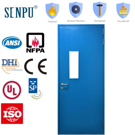 Single Steel Fireproof Door with Vision Panel