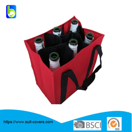 Non Woven Wine Bag with 6 Divider for Beer and Wine