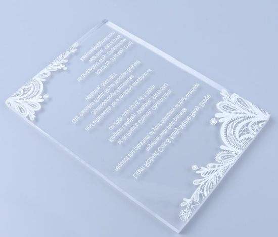China Custom Writing Laser Cut Clear Acrylic Wedding