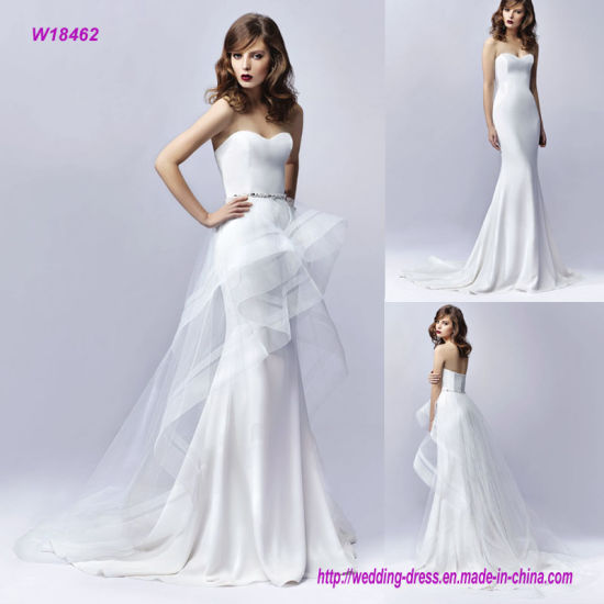 Gorgeously Contemporary Detachable High-Low Tulle Wedding Dress