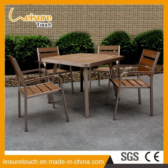 Powder Spraying Dining Garden Furniture Aluminum Polywood Outdoor Chair Restaurant Table Set pictures & photos