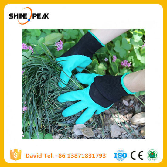 Green Garden Digging Gloves with 4 ABS Plastic Claws for Garden Digging Planting 1 Pair Garden Digging Gloves Tools pictures & photos