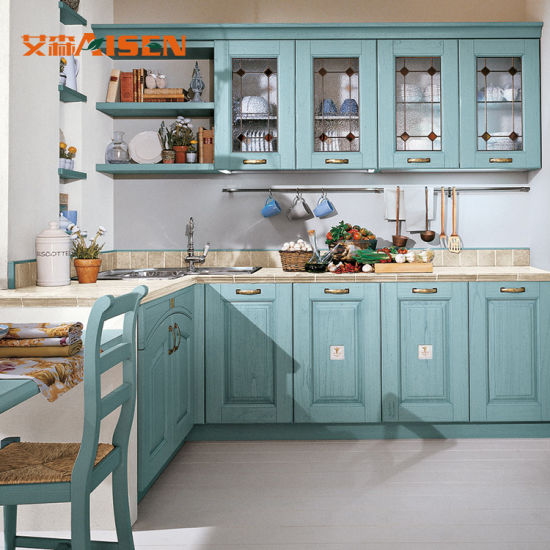 2018 Country Style Solid Wood Kitchen Cabinet