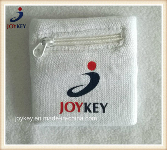 Fashion Cotton Wristband with Zipper Pocket