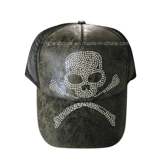 c8d5c59250833 Custom Fashion Trucker Cap with Skull Diamond Logo Setting pictures   photos